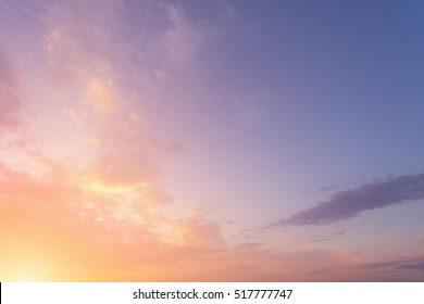 Yellow and purple sky at sunset or sunrise