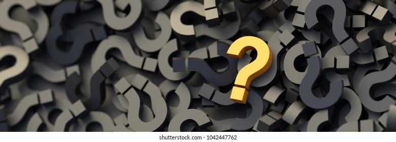 Yellow question mark on a background of black signs. 3D Rendering.
