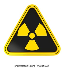 Yellow Radiation Triangle Sign on black with white background