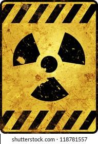 Yellow radioactivity warning sign