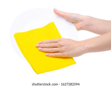Yellow rag with white plate washing cleaning in hand on white background isolation