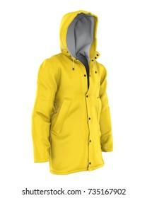 Yellow Rain Coat Isolated. 3D rendering