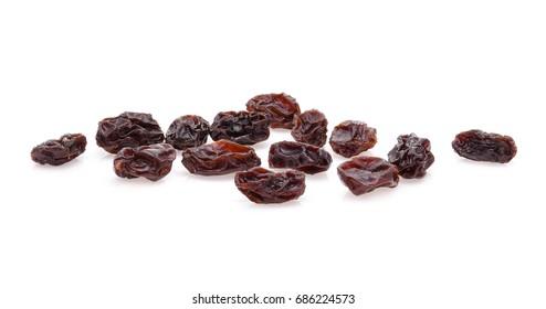 yellow raisins on white background