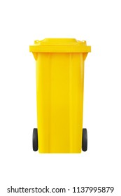 yellow recycle bin isolated on white background