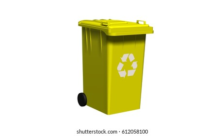 Yellow Recycle bin with recycle sign isolated on white - 3d rendering