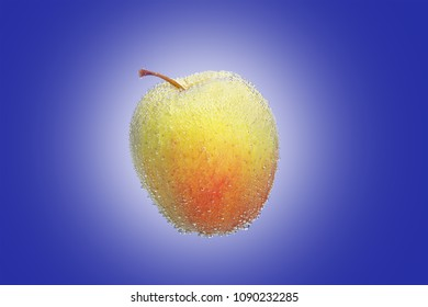 yellow and red Apple in the air bubbles on a blue background