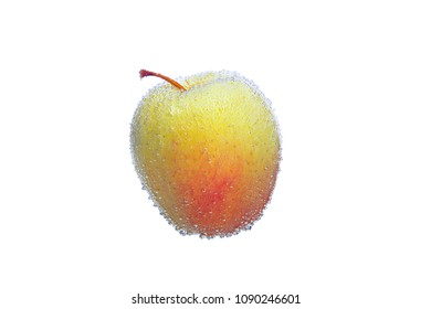 yellow and red Apple in the air bubbles isolated on white