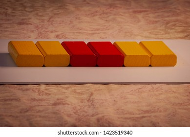 Yellow and red colored bricks
