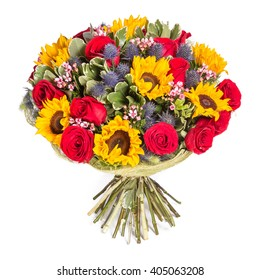 Yellow and red flowers bouquet isolated on white