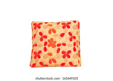 Yellow and red flowers shape pillow isolated on white background