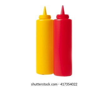 Yellow and Red, Mustard and Catsup condiment containers.