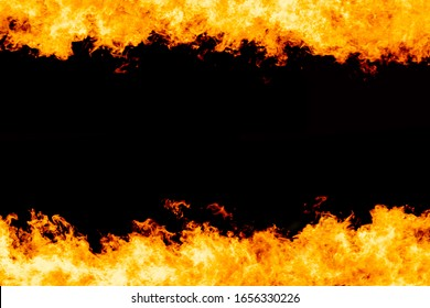 Yellow red and orange fire flames blazing fiery burning frame border isolated on a black background with copy space text for design concept