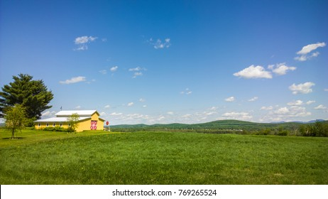 yellow and red organic farm with blue sky