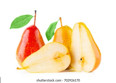 Yellow and red pears on white background