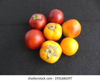 Yellow and red Solanum sessiliflorum fruits or Cocona is a tropical shrub belonging to the Solanaceae family. Amazon, Brazil