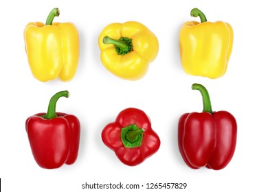 yellow and red sweet bell pepper isolated on white backgro. Top view. Flat lay
