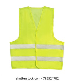 Yellow reflective safety vest isolated on the white background