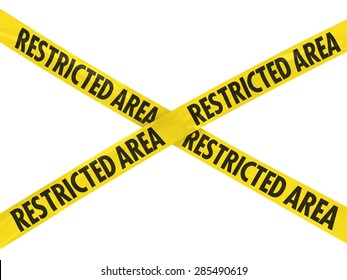 Yellow RESTRICTED AREA Barrier Tape Cross