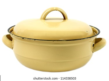 Yellow retro lidded pot isolated on white