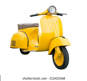 Yellow Retro Motorcycle isolated on white background with clipping path