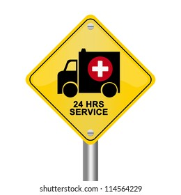 Yellow Rhombus Road Sign For Ambulance Car 24 HRS Service Isolated on White Background