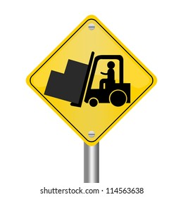 Yellow Rhombus Road Sign For Working Safely Around Forklifts Isolated on White Background