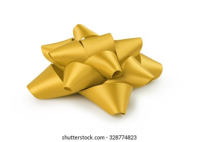 yellow ribbon gift bow isolated on white background