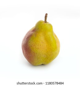 yellow ripe pear on white background. autumn harvest of fruits