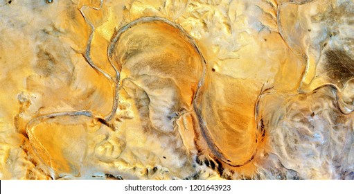 Yellow river, tribute to Pollock, abstract photography of the deserts of Africa from the air, aerial view, abstract expressionism, contemporary photographic art, abstract naturalism,