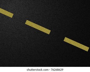 Yellow road line on dark asphalt