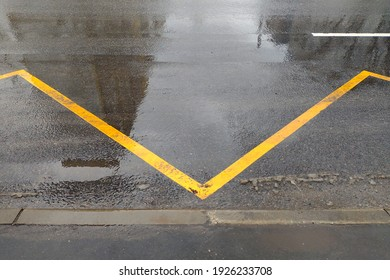 yellow road markings at the bus stop