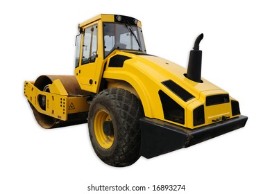 Yellow road roller isolated with clipping path
