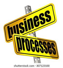 Yellow road sign with business processes word image with hi-res rendered artwork that could be used for any graphic design.