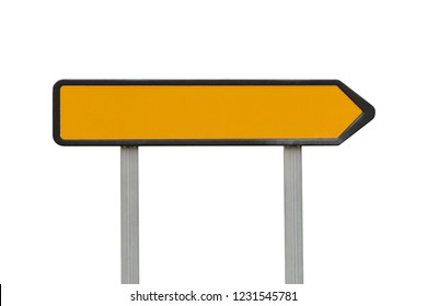 yellow road sign direction pointer isolated on white background