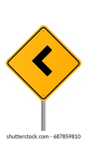 Yellow road sign. Isolated on white background to easily adapt into your design. Vertical composition with copy space. High quality 3D rendering.