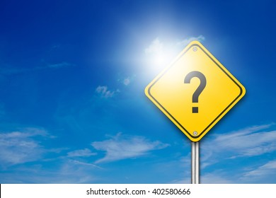 Yellow Road Sign with Question Mark Inside On Blue Sky Background with blank for text