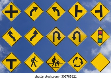 yellow road signs, traffic signs set on sky background