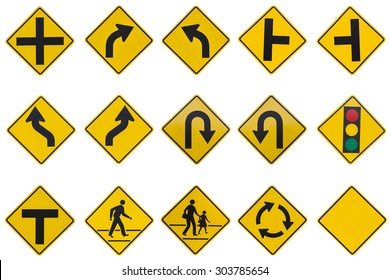 yellow road signs, traffic signs set on white background