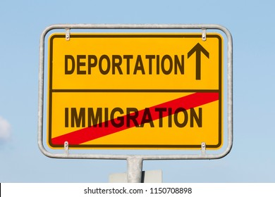 yellow road or town sign informing that immigration is behind and deportation is ahead. Concept for national separation policy