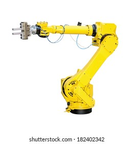 Yellow robot arm for industry isolated included clipping path