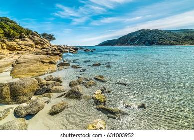 Yellow rocks in Cala Pira, Sardinia