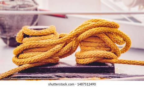 Yellow Rope Fishing Boat Port Cables Nets
