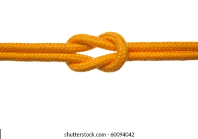 A yellow rope tied with a reef knot on a white background