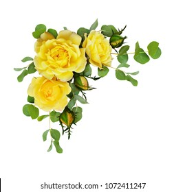 Yellow roses images stock photos vectors shutterstock yellow rose flowers with eucalyptus leaves in a corner arrangement isolated on white background flat mightylinksfo