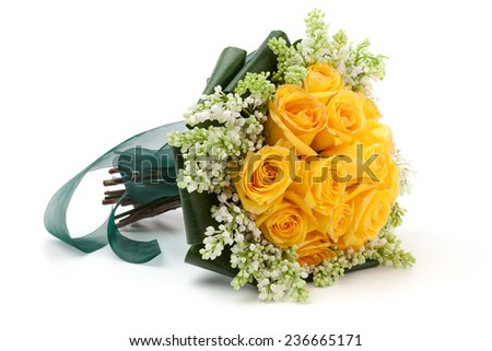 Yellow Roses Wedding Bouquet Lying Down Stock Photo Edit Now