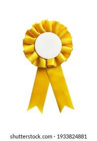 Gelbes Rosette-Band mit einem leeren Kopienraum einzeln auf weißem Hintergrund.