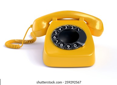 Yellow Rotary Phone isolated on White Background