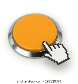 Yellow round button with steel border on white background