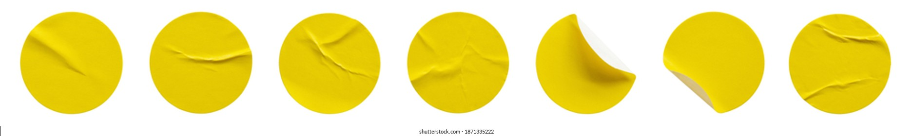 Yellow round paper sticker label isolated on white background