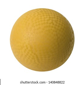 Yellow Rubber Ball Isolated on White Background.